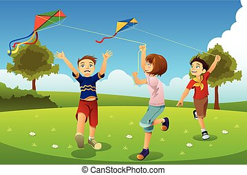 Kids Flying Kites in a Park