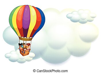 Kids flying on balloon in the sky