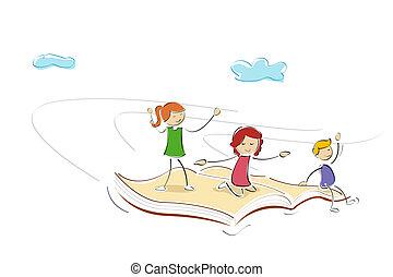 kids flying on book