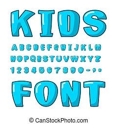 Kids font. Voluminous blue letters. ABC for kids. Cute lettring. plump alphabet