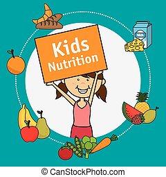 Kids food design. - Kids food design over blue background,...