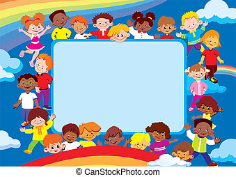 Kids frame. Place for your text. Happy childhood. Vector art-illustration.