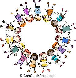 Kids Frame - Illustration of Kids Lying Close Together
