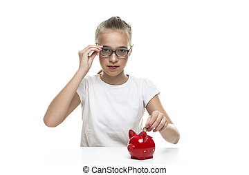 Kids Frugal Concepts. Blond Teenager Girl Posing With Coins and Piggy Bank. Storing up Money With Moneybox For Savings. Horizontal image