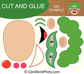 Kid's game. Create the image of face of happy clown using scissors and glue.