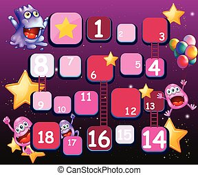 Kids game - Ladder game with imaginery creature background