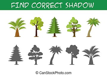 Kids game with trees,find correct shadows,
