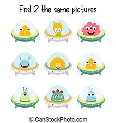 Kids Games - Kids Game - Find Two the Same Aliens. Space ...