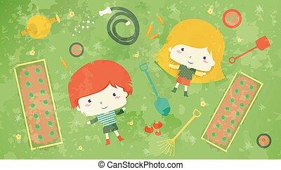 Kids Garden Lying Grass