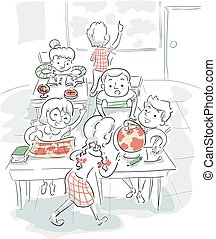 Kids Geography Classroom Illustration