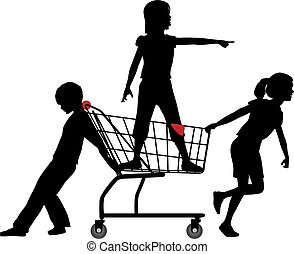 Kids get cart rolling in big shopping expedition - Three...