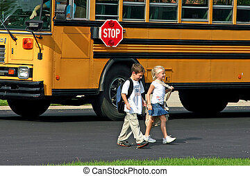 Kids Getting off Bus - Two Kids Getting Home From School