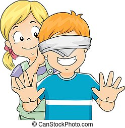 Kids Girl Blindfold Boy Game