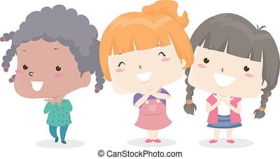 Illustration of Kids Girls Smiling and Showing Their Pretty Faces. Pretty Adjective