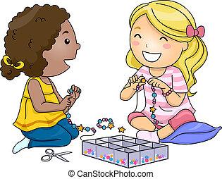 Kids Girls Bead Accessories - Illustration of Little Girls...