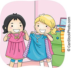 Kids Girls Best Friend Share Dress - Illustration of Little ...