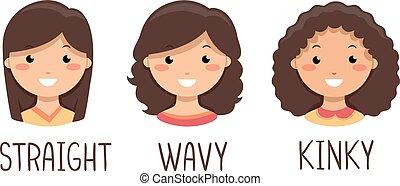 Kids Girls Hair Types Illustration
