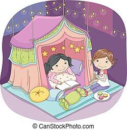 Kids Girls Indoor Camping - Illustration of Cute Little...