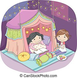 Kids Girls Indoor Camping - Illustration of Cute Little...