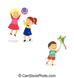 Kids - girls playing ball and boy flying a kite