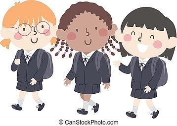 Kids Girls School Uniform Illustration