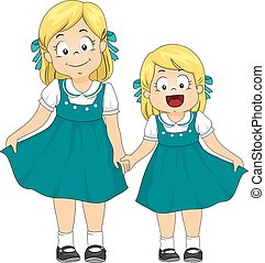 Kids Girls Sisters Vintage Dress - Illustration of a Pair of...