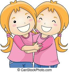 Kids Girls Twins Hug Illustration
