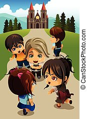 Kids going to church - A vector illustration of happy kids...