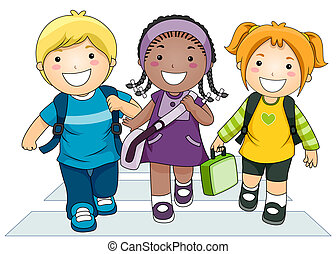 Kids Going to School - Illustration Featuring a Small Group...