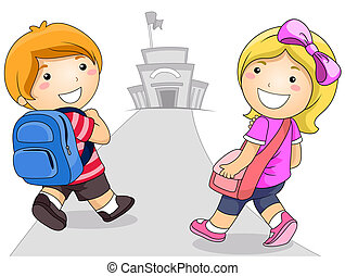 Kids Going to School - Illustration Featuring a Young Boy...