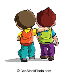 Kids going to School - illustration of kids going to school ...