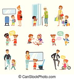 Kids good manners set, polite children helping adults, giving way to transport, thanking each other vector Illustrations on a white background