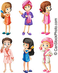 Kids grooming - Illustration of the kids grooming on a white...