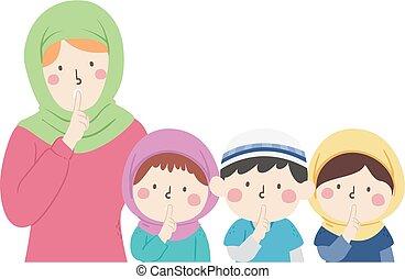 Kids Group Muslim Teacher Voice Level No Talking