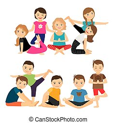 Kids groups in yoga poses