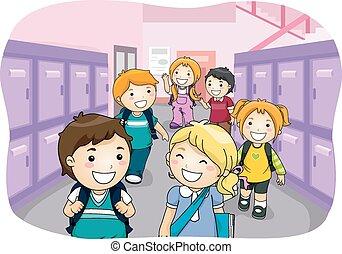 Kids Hallway Locker - Illustration of Kids Walking Down a...
