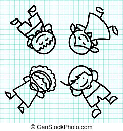 Kids hand draw cartoon .I - Kids hand draw cartoon on blue...