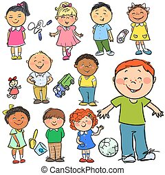 Kids. Hand drawn clip-art. - Set of hand drawn kids, cartoon...