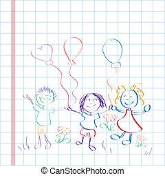 Kids hand drawn on paper