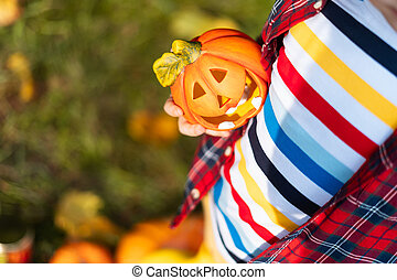 Kid's hand holding Jack'O pumpkin lamp, trick or treat on Halloween day. Concept for autumn holidays background