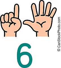 Kid's hand showing the number six hand sign.