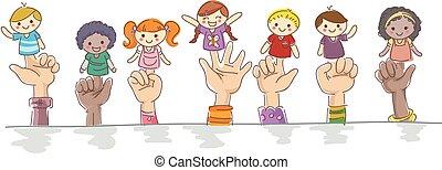 Kids Hands Finger Puppets Illustration