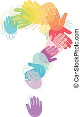 Kids Hands Question Mark Colors Illustration