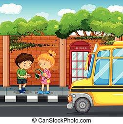 Kids hanging out on the sidewalk illustration