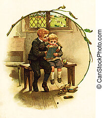 Kids have a look at picture - POLAND - CIRCA 1891: ...