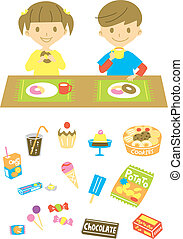 Kids have a snack, various sweets - kids have a snack,...