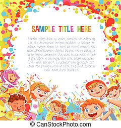 Kids have fun jumping and dancing on confetti background. Advertising holiday template