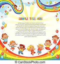 Children slide down on a rainbow. Roller coaster ride. Template