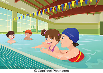 Kids having a swimming lesson in indoor pool - A vector...