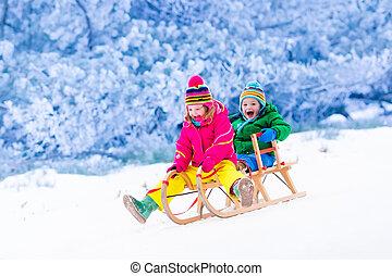 Kids having fun on sleigh ride - Little girl and boy enjoy a...